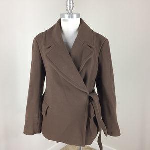 J Crew S 6 Brown Wrap Winter Coat Wool Excellent